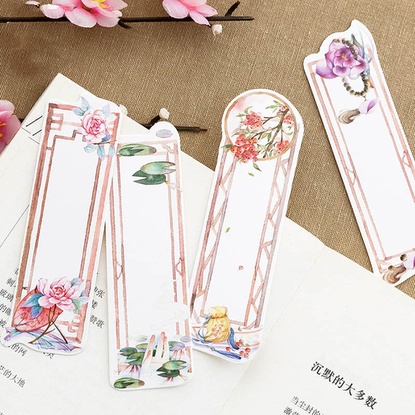 Hot Sale Chinese Retro Bookmark Creative Flowers Paper Book Marks For Girls Kids Gifts Office School Supplies Korean Stationery