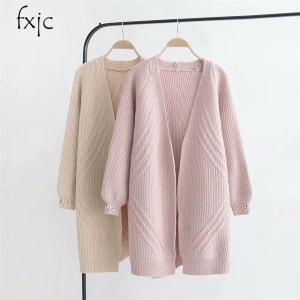 75122601055 Women New Cuffs Embroidered Lantern Sleeve Medium Long Knit Cardigan Loose  Literary Youth Sweater Jacket 2018