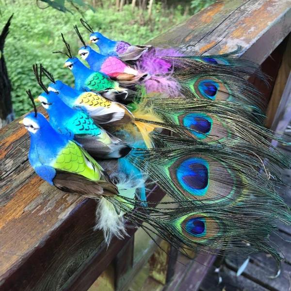 Dekoratif El Sanatları Kuşlar Yapay Köpük Tüyler Kuş, Bpirthday Parti Süslemeleri Yetişkin Için Mini Tavuskuşu, Düğün Masa Dekorasyon