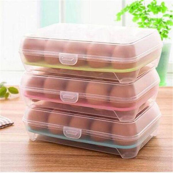 2019 freies verschiffen Kühlschrank Ei Aufbewahrungsbox Fall 15 Eier Halter Aufbewahrungsboxen Küche Aufbewahrungsorganisation