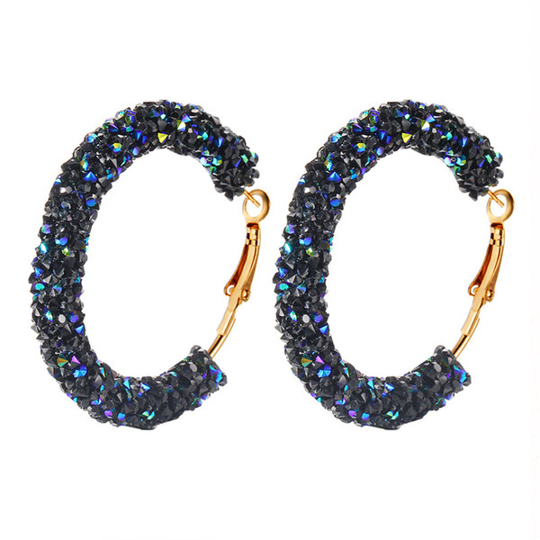 Brand Designer New Hoop Earring Fashion Charm Austrian Crystal Hoop Earrings Geometric Round Shiny rhinestone big earings jewelry women