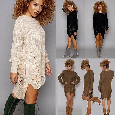 Wholesale- Women Lady Clothes Fashion Long Knitted Jumper Chunky Sweaters Casual Pullover Irregular Stylish New Size 6-14