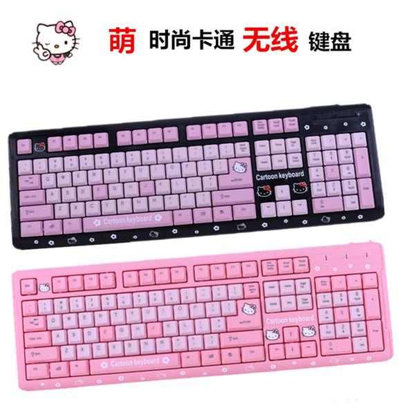 MAORONG TRADING Hello Kitty laptop tastiera impermeabile per computer slim cartoon carino rosa USB cablata tastiera per gatti KT per ragazze