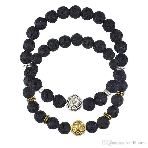 Hot Sale 1PCS Men's Bracelets 8mm Volcanic Stone Lions Head Bracelet Fashion Buddhist Buddha Meditation Beads Bracelets For Men Gift D937LR