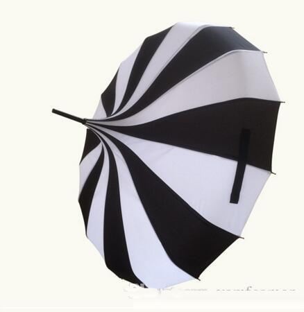 best selling (10 pcs lot) Creative Design Black And White Striped Golf Umbrella Long-handled Straight Pagoda Umbrella Free Shipping