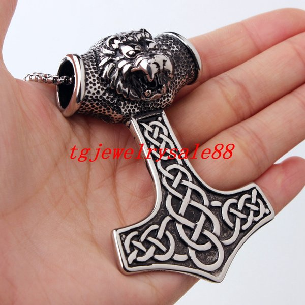 whole saleHigh Quality Viking Thor Hammer Pendant Silver Black Tone Stainless Steel Lion Head Biker Mens Boy Necklace Jewelry 67g
