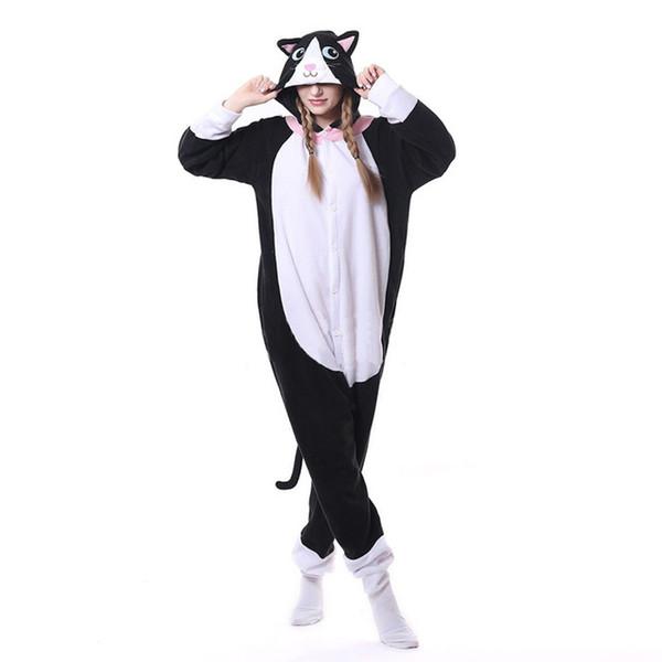 Animal Black Cat Onesie Men Women DJ Kitty Onesie Matching Pajama Overall Adult Sleepwear Cartoon Carnival Big Size Fashion Suit