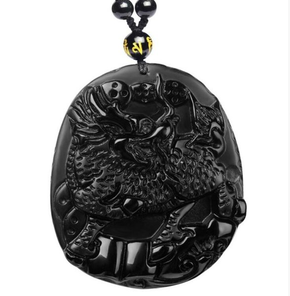 Natural Stone Obsidian Pendant with Bead Necklace Black A Carved Kirin Fine Carving Polishing Mascot Lucky for Men Women