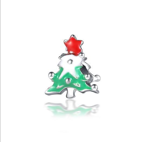 Fit Pandora Charm Bracelet 30pcs Christmas Tree Enamel European Silver Bead Charms Beads DIY Snake Chain For Women Bangle & Necklace Jewelry