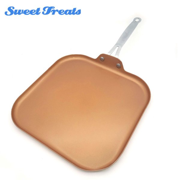 Sweettreats Square Nonstick Copper Ceramic Griddle Pan 11 -Inch Nonstick Copper Ceramic Coating Pan With Stainless Steel Handle