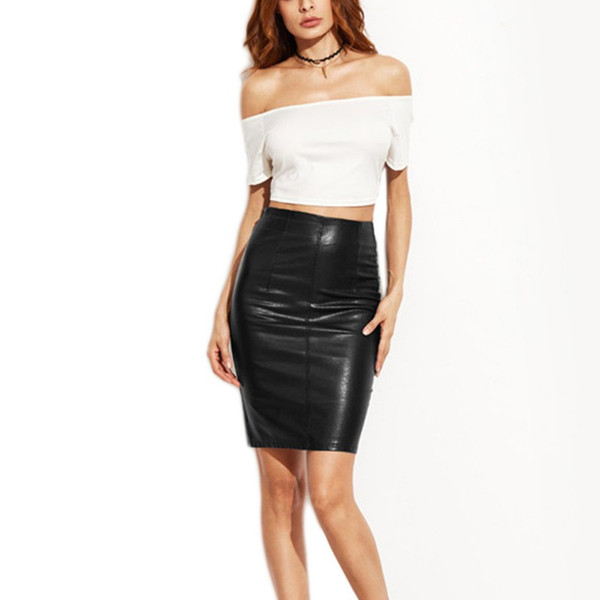 Fashion Clothes Woman Skirts Female Sexy Clothing Spring Summer Punk High Street Stylish Black Bodycon PU Leather Skirt