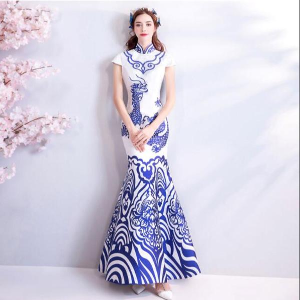 Real Photos Elegant High Collar Satin Long Mermaid Beaded Evening Dresses Plus Size Vestido De Festa Toasting Formal Prom Gowns for Women
