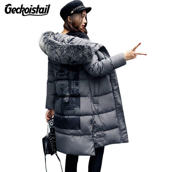 Geckoistail Invierno Mujeres Chaqueta Escudo Moda Collar de Piel Parka Con Capucha Sueltas Mujeres de Talla grande Thick Coon Jacket Parkas prendas de Vestir Exteriores