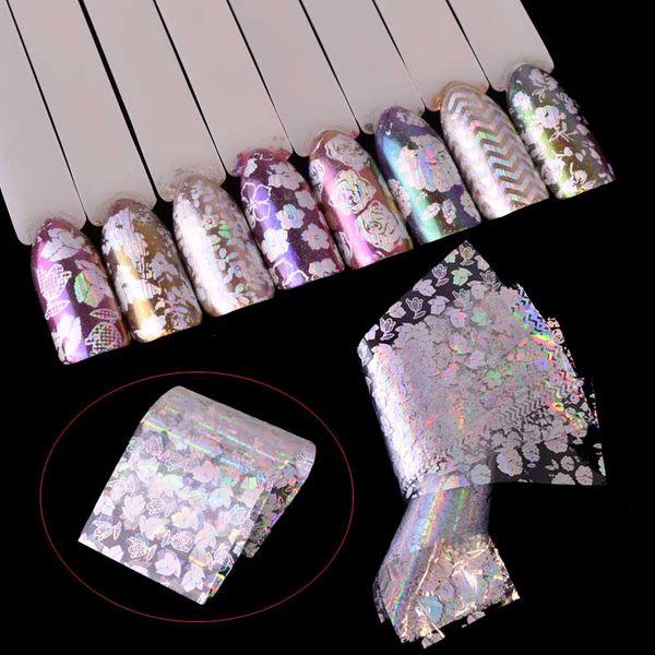 8pcs Transparent Laser Starry Transfer Sticker Nail Foils Flower Charming Design Manicure Salon Accessory for Nail Art Set TR141