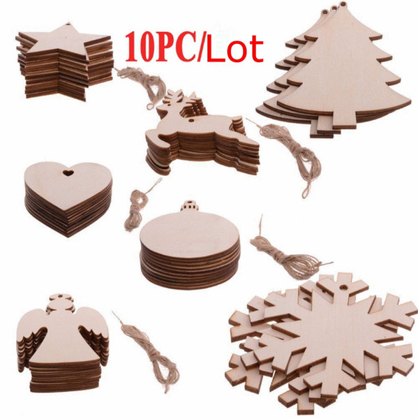 Christmas Wood Chip Christmas Tree Pendant Ornaments Christmas Decorations Snowman Tree Deer Arts Crafts Gifts 10 Designs Optional YW1562