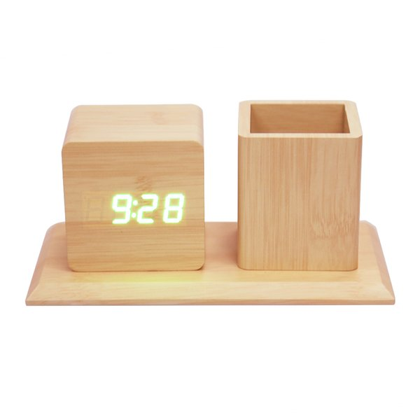 Voice-Activated Wooden Shell Desk Alarm Clock With Pen Container Multifunctional Digital Table Clock Temperature,Alarm,Date