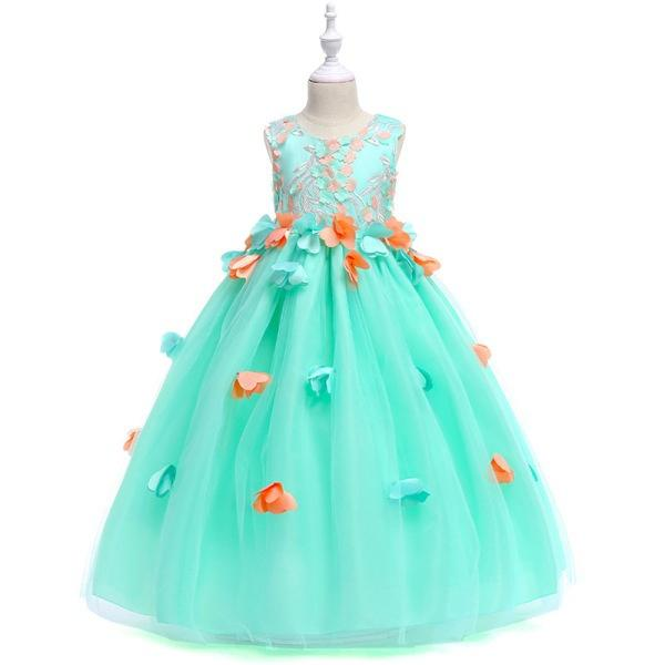 Free Shipping Flower Girl Dress Evening Long Gowns for Teen Girls 3D Petal Embroider Princess Sleeveless Party Dresses KA810