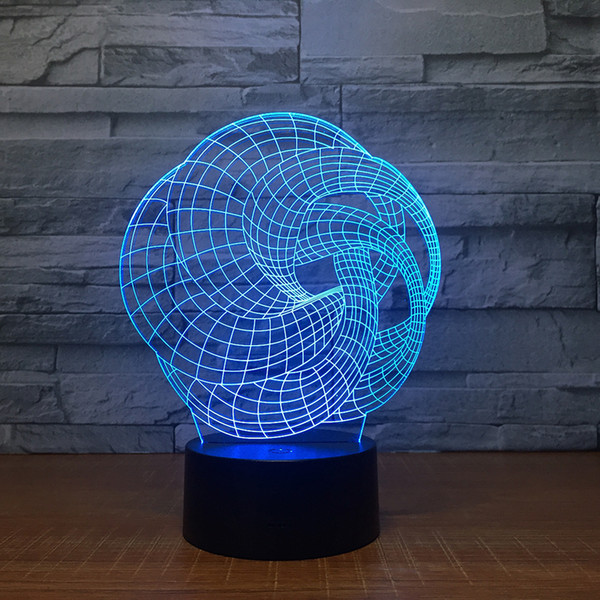 3D Illusion Ball Art Night Lamp 3D Optical Lamp AA Battery USB Powered 7 RGB Light DC 5V Wholesale Free Shipping