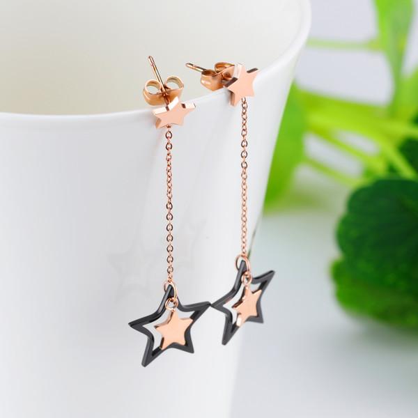 Black Star Earrings Women Simple Long Fringe Titanium Steel Ear Wires Stars Empty Women's Stud Earrings