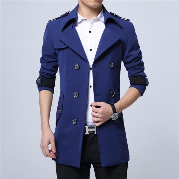 2018 Nova Primavera Mens Casual Trench Coat Azul Preto Longline Fino Blusão Casacos plus size 6XL