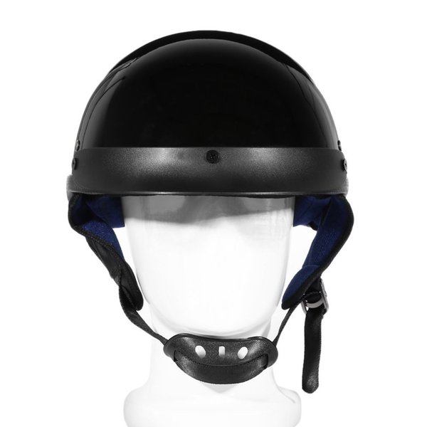 Unisex DOT Motorcycle Helmets Bright Black Half Face Helmet Chopper Cruiser Travel Scooter Biker Head Protection Safely Cap