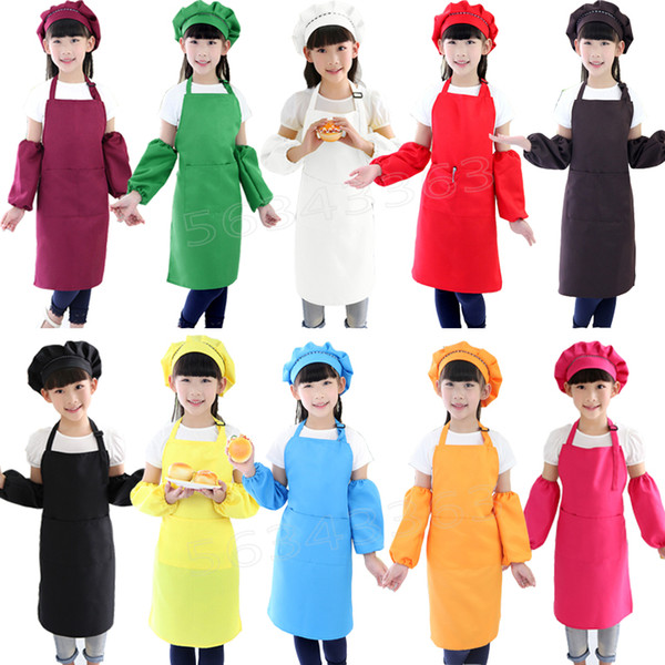 3pcs/set Kids Apron Waists with Sleeve chef Hat Kindergarten Kitchen Baking Painting Cooking food Children Aprons for Boy Girl 10 colors