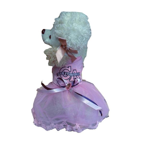 Pink Dog Dress Blue Party Tutu Harness Formal Medium Large XL XXL Rhinestones Stone Decor Skirt Lace Fabric Dog Clothes Puppy