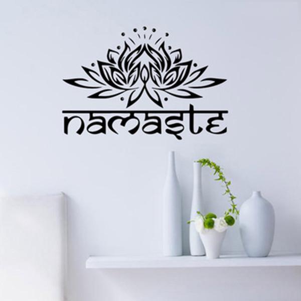 1 pc Lotus Fleur Sticker Yoga Namaste Stickers Muraux Décor À La Maison Salon Chambre Yoga Studio Wall Art Papier Peint En Vinyle