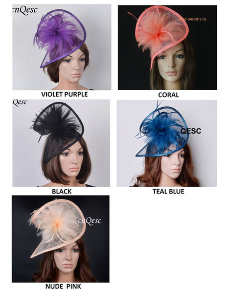 top popular FREE SHIPPING HOT sinamay fascinator sinamay hat in SPECIAL shape with feathers for Kentucky derby party wedding 2019