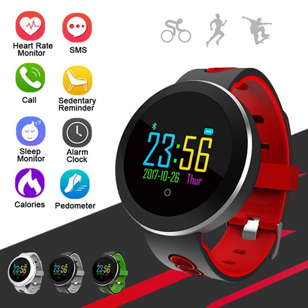 3 Colors Q8 Pro Smart Watch Wristband Blood Pressure Heart Rate Monitor Sports Waterproof Motion Tracking Wristwatch Band 2018