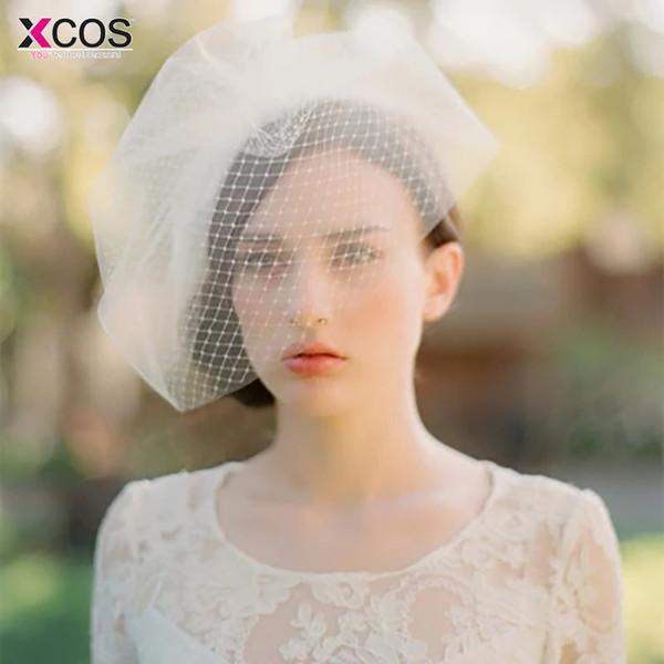 Birdcage marfil elegante de la boda de novia Sombreros Fascinator cara flor de la pluma velos red con sombrero nupcial de la horquilla