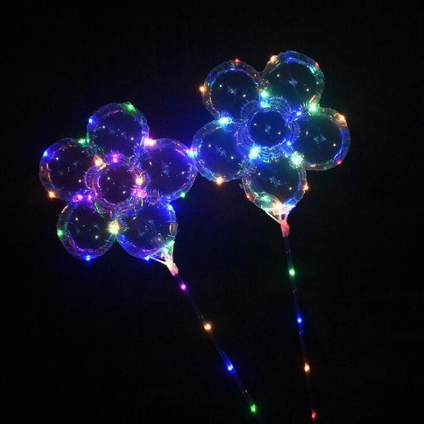 LED Plum Blossom Balloon 18 inch Flashing Bobo Ball Light Up Balloons with Handle Stick Party Decoration Outdoor Games OOA5440
