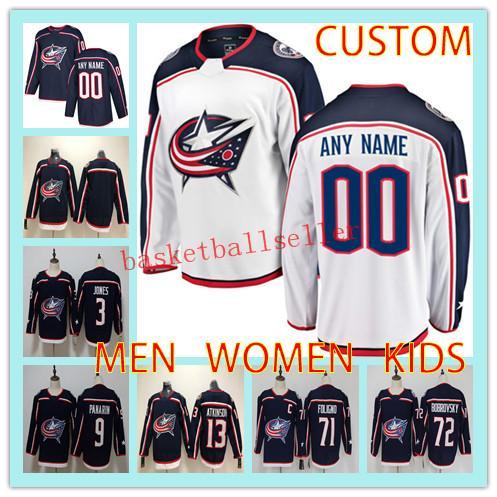 Custom COLUMBUS BLUE JACKETS MEN WOMEN KIDS Hockey Jersey any name number 13 Cam Atkinson 71 Nick Foligno 72 Sergei Bobrovsky hockey jersey