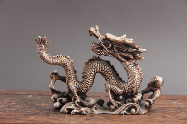 Exquisite china hand carving Cupronickel dragon statue
