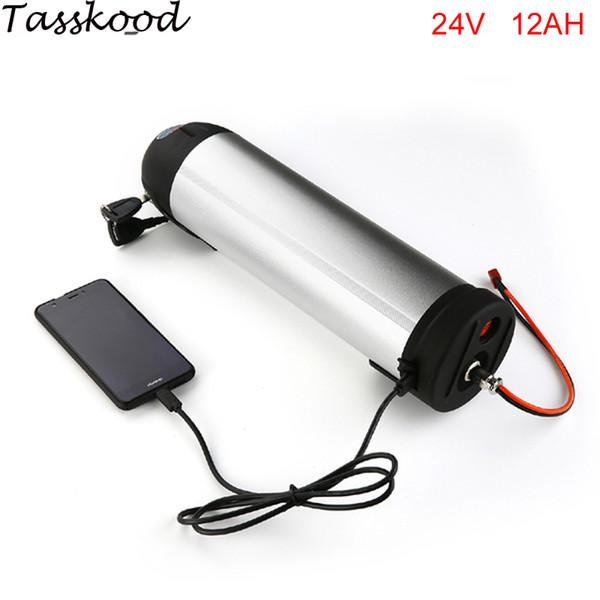 Grátis Tax Water Kettle Bateria Recarregável 24 V 12Ah Garrafa De Água De Lítio Bateria de Íons para a Bicicleta Elétrica kits de Conversão + porta USB