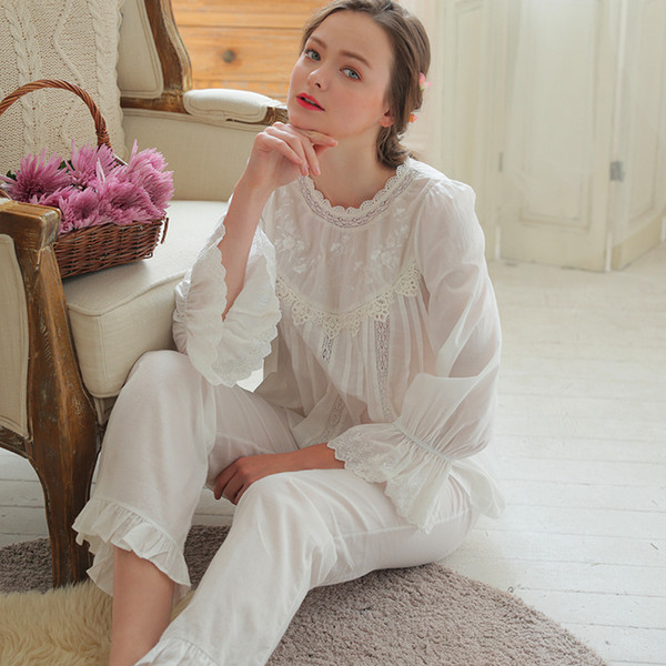 Women Pajamas 2018 NEW Princess White Long-Sleeved Pajama Pants Sets Royal Retro Sweet Pyjama Lace Lounge Set
