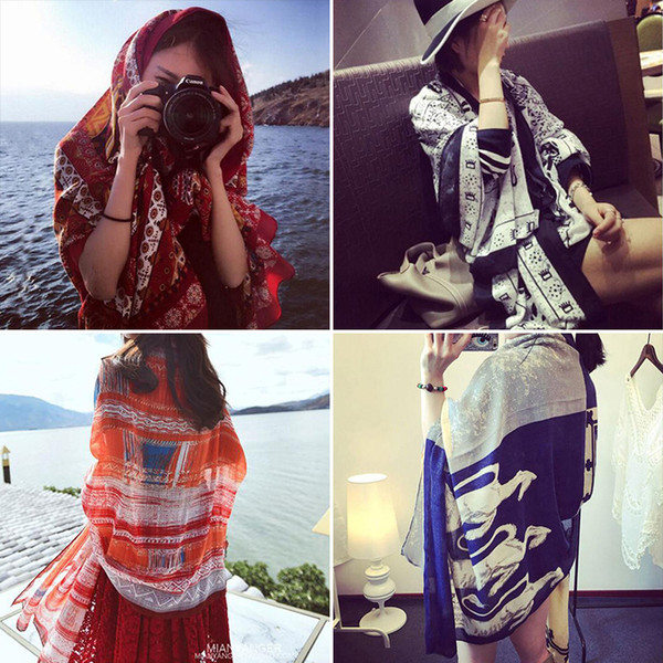 best selling 35 Color Sunscreen Sunscreen Oversized Scarves Female 2018 Hot Resort Scarves Beach Towels Scarves Dual-Use Shawl