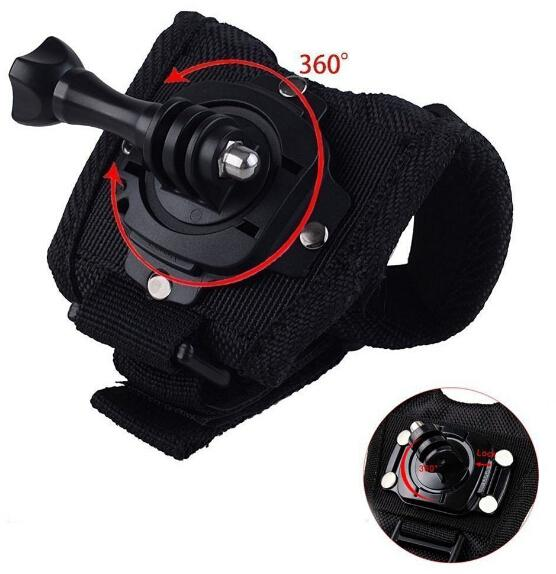 Whosale Go Pro 360 Degree Rotation Glove style Wrist Hand Band Mount Strap For GoPro Hero 4 Hero 4 Session 3+ 3 2 Xiaoyi cam
