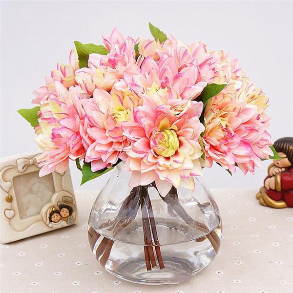 2018 Pack Of 3 Artificial Silk Dahlia Flower Bouquet Wedding Party ...