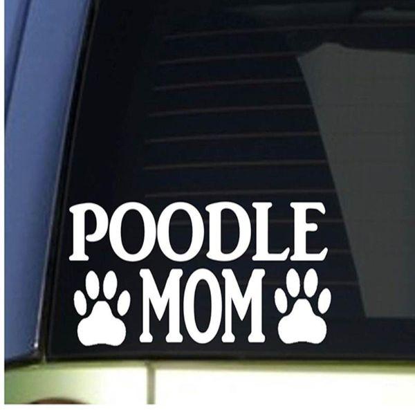 HotMeiNi Wholesale 20pcs/lot Poodle Mom Car Sticker For Truck Window Bumper Auto SUV Door Laptop Kayak Vinyl Decal 8 Colors