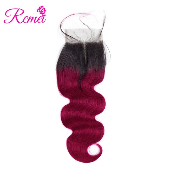 Rcmei Ombre Burgundy Brazilian Body Wave Lace Clousre T1B/ Burg Middle Part 4*4 Lace Closure 100% Brazilian Human Hair