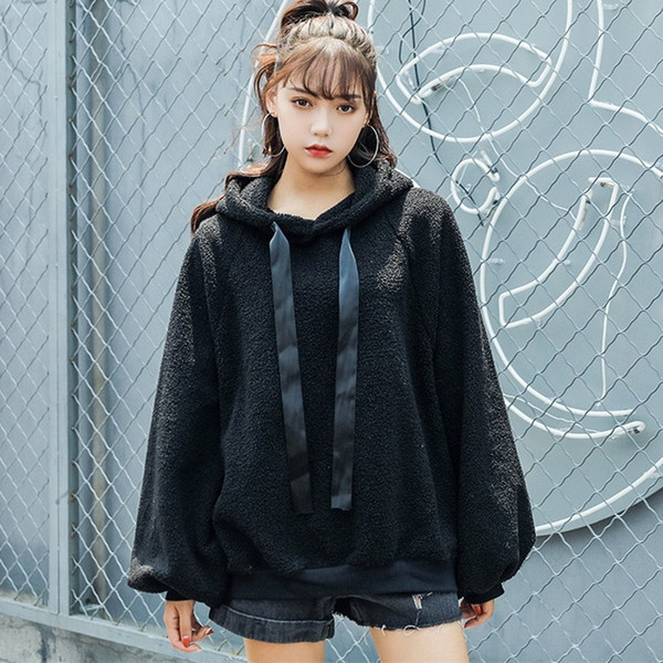 New Arrival Autumn Winter Lambswool Warm Sweatshirts Women Hooded Loose Tops Casual Lantern Sleeve Solid Hoodies
