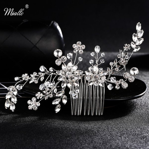 Crystal Rhinestone Hair Combs Flower Hair Clips for Wedding Women Jewelry Hair Accessories Bridal Comb Girls Headwear Head Stick JCH006