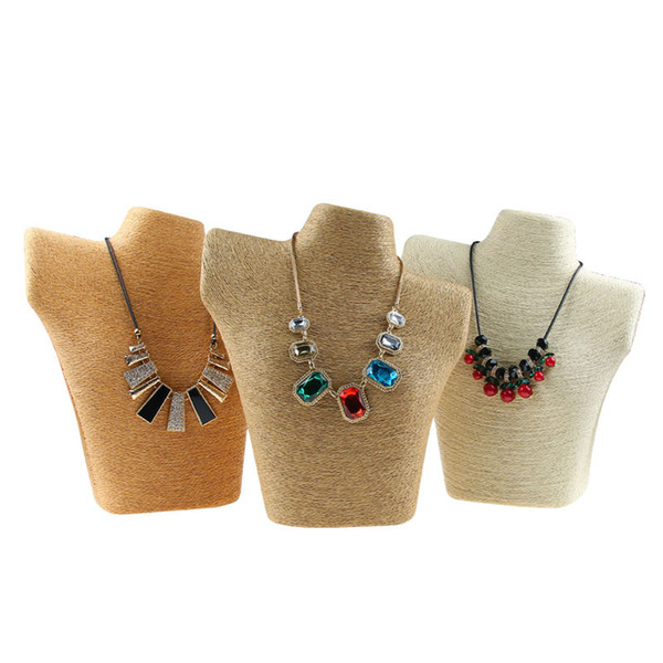 Woven Straw Necklace Bust Stand Jewelry Shelf Display Neck Form for Jewellery Necklaces Window Showcase Counter Exhibition Figure Big