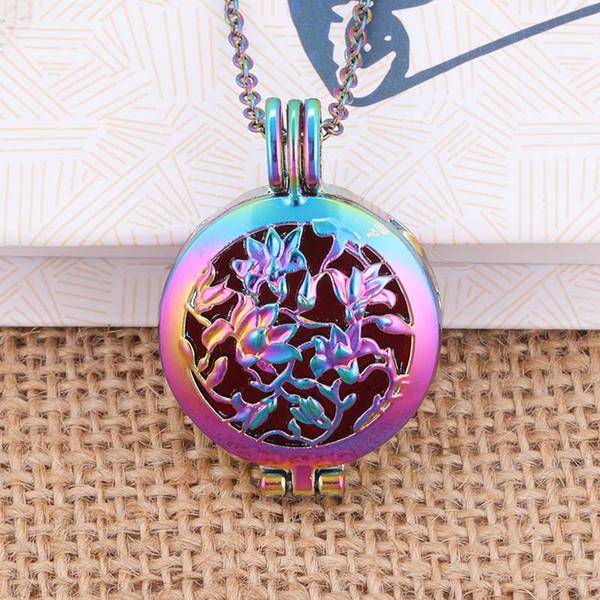 Collier de diffuseur de couleur Aroma Open Antique Vintage médaillons pendentif parfum huile essentielle aromathérapie collier médaillon avec 2 perles LS05