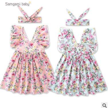 Baby Girls Floral Dress Summer Fashion Short Sleeve baby Girls Dresses with Headband Infant Toddler Clothes Kids Boutique Clothing