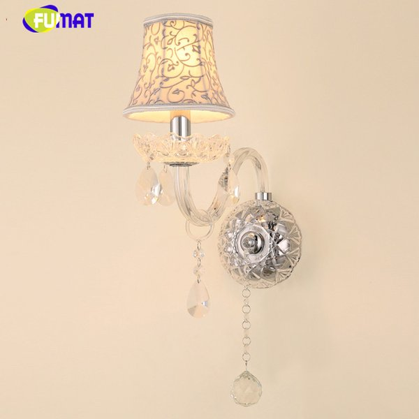 Modern Art Decor Crystal Wall Lamps European Style LED Sconce Living room Bedroom Corridor Aisle Light With Flowers Shade