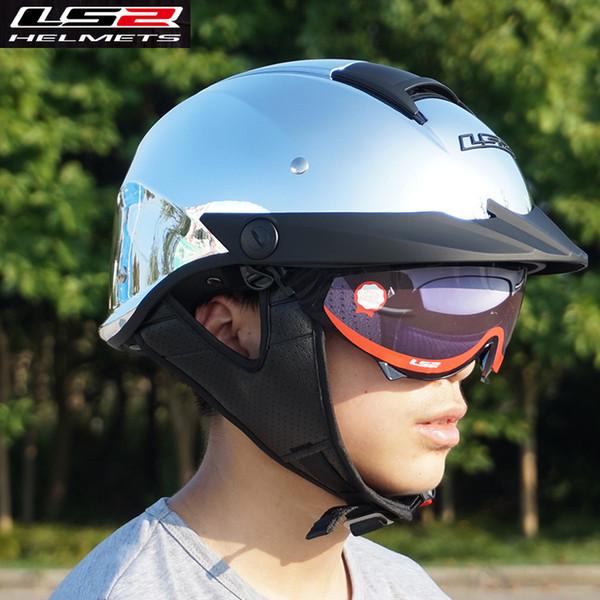 100% Genuine LS2 HH590 Rebellion Half Face Motorcycle Helmets with inner sunshield harley vintage open face retro helmets