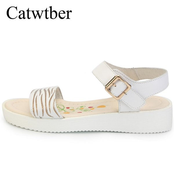 c8bd39378067 Catwtber New Women Sandals Slip On Elastic Band Female Summer Shoes  Platform Roman Female Flats Sandals