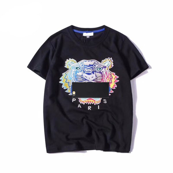 New Fashion Summer Designer T Shirts Men Women Embroidery Tops Tiger Head Letter Embroidery T Shirt Brand Short Sleeve Tees S-2XL